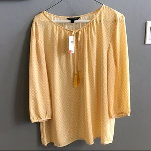 Long Sleeve Yellow Pattered Blouse